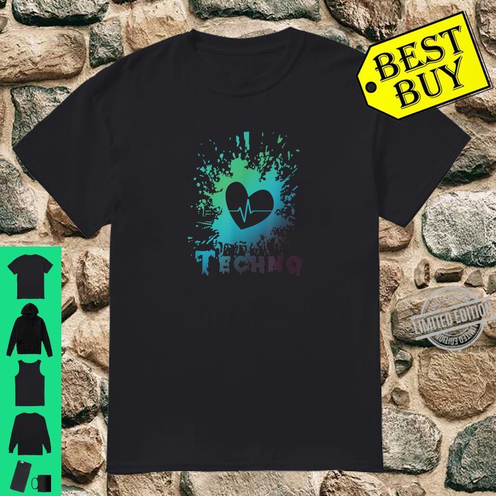 Ich Liebe Techno Herz Frequenz Puls Party Feiern Geschenk Shirt