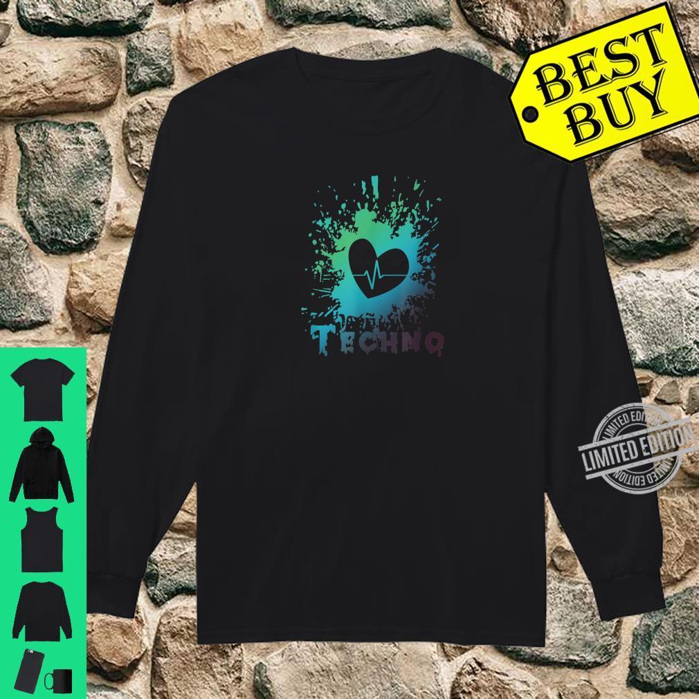 Ich Liebe Techno Herz Frequenz Puls Party Feiern Geschenk Shirt long sleeved